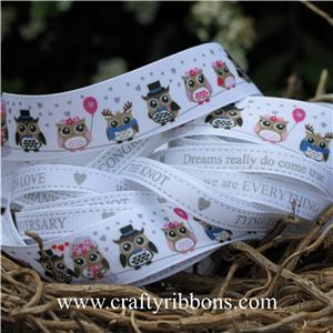 Wedding Owl Ribbon - WANT IT ALL White